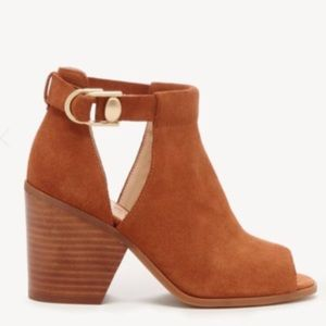 Caprica Peep Toe Leather Ankle Bootie  Size 11